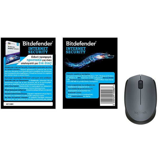 Bitdefender Internet Security 1PC 1Year Card & Logitech M170 Grey Wireless Mouse