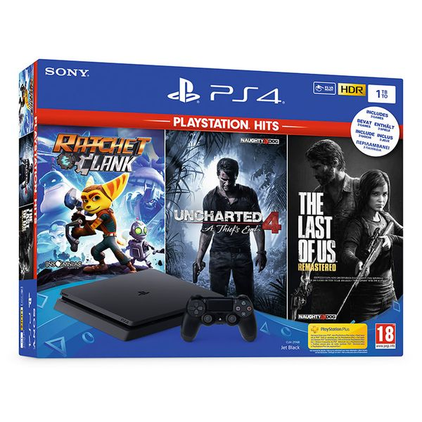 Sony PS4 Slim 1TB Black & Ratchet & Clank & The Last of Us Remastered & Uncharted 4 Tο Τέλος Ενός Κλέφτη