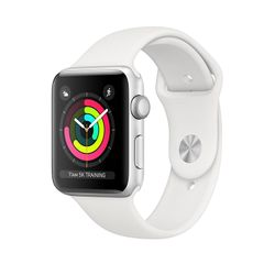 Apple Watch Series 3 GPS 38mm Silver Aluminium Case με White Sport Band