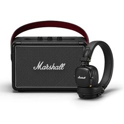 Marshall Set Kilburn II Black Bluetooth Ηχείο & Major III Black Bluetooth Ακουστικά