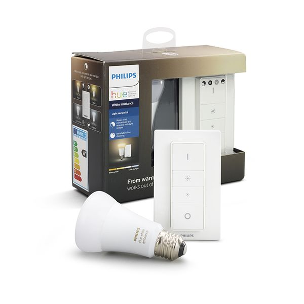 Philips Hue Smart Light Bulb 9.5W A60 E27 White Ambiance Dim Kit (1x bulb & 1x switch)