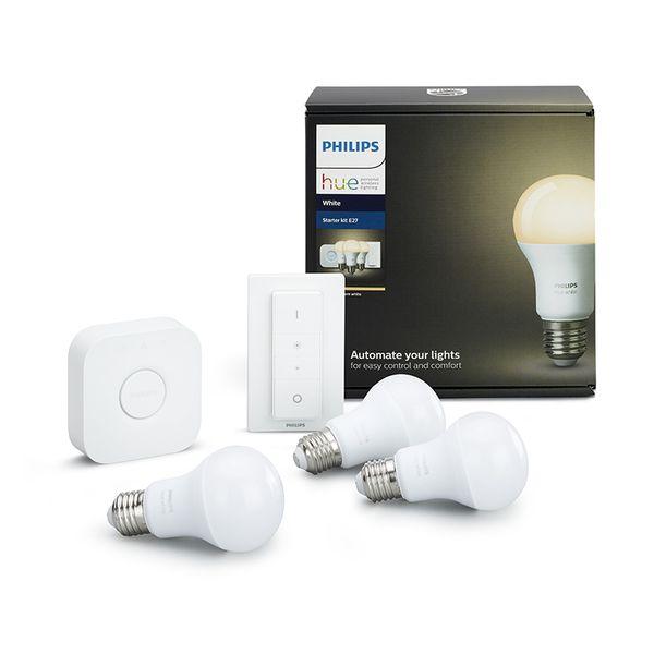 Philips Hue Smart Light Bulb 9.5W A60 E27 White Starter Kit (3x bulb & 1x switch & 1x bridge)