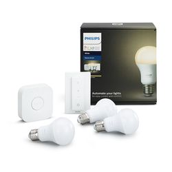 Philips Hue Smart Light Bulb 9.5W A60 E27 White Starter Kit (3x bulb & 1x switch & 1x bridge)