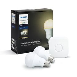 Philips Hue Smart Light Bulb 9.5W A60 E27 White Starter Kit (2x bulb & 1x bridge)