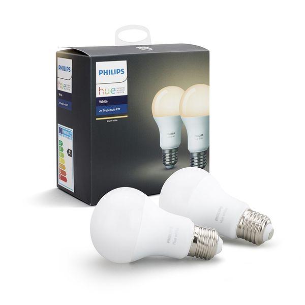 Philips Hue Smart Light Bulb 9.5W A60 E27 White 2-pack