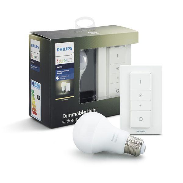 Philips Hue Smart Light Bulb 9.5W A60 E27 White Dim Kit (1x bulb & 1x switch)