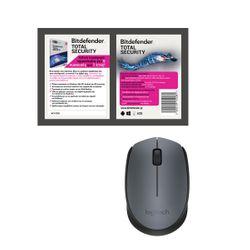 Logitech M170 Grey Ασύρματο Ποντίκι & Bitdefender Total Security (5 Devices, 1 Year) Card