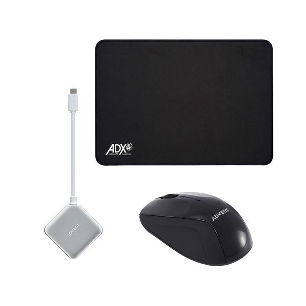 advent amwl13 black usb type c to 4 port usb a hub adx mousepad