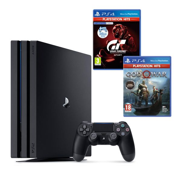 Sony PS4 1TB Pro & God of War PS Hits & Gran Turismo Sport PS Hits