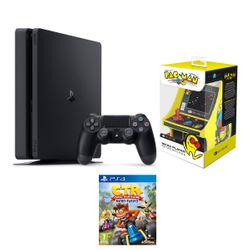 Sony PS4 500GB Slim & Crash Team Racing Nitro-Fueled & My Arcade Retro Pac-Man Micro Player
