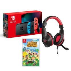Nintendo Switch Red&Blue & Animal Crossing: New Horizons & Trust GXT 404R Rana for Switch