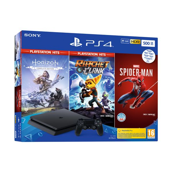 Sony PS4 500GB & Marvel`s Spider-Man & Horizon Zero Dawn PS Hits & Ratchet & Clank PS Hits
