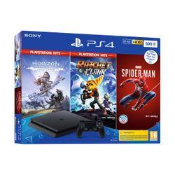 Sony  PS4 500GB & Marvel`s Spider-Man & Horizon Zero Dawn PS Hits & Ratchet & Clank PS Hits