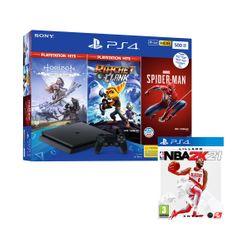Sony PS4 500GB & Marvel`s Spider-Man & Horizon Zero Dawn PS Hits & Ratchet & Clank PS Hits & NBA 2K21
