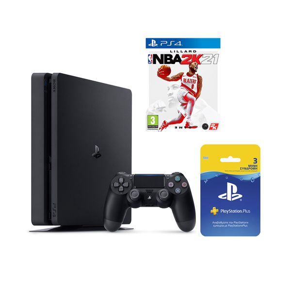 Sony  PS4 500GB & NBA 2K21 & Playstation Plus 90Days Card