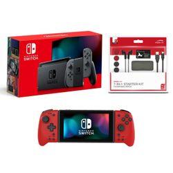 Nintendo Switch Grey & Speedlink 7-in-1 Starter Kit & Hori Split Pad Pro Volcanic Red