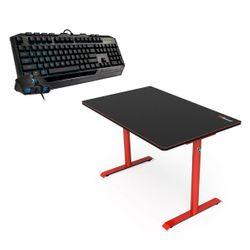 Arozzi Arena Leggero Red Gaming Desk & Cooler Master Devastator III Plus Gaming Keyboard & Mouse
