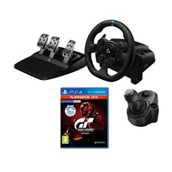 Logitech G923 PS5/PS4/PC Τιμονιέρα & G Driving Force Shifter Λεβιές & Gran Turismo Sport (PS Hits)