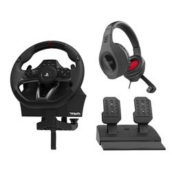 Hori Racing Apex PS4/PS3/PC Τιμονιέρα & Speedlink Coniux Stereo PS4 Gaming Headset
