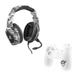 Trust GXT 488 Forze-G PS4 Grey Gaming Headset & GXT 744B Rubber Skin Transparent