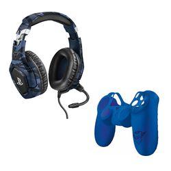 Trust GXT 488 Forze PS4 Blue Gaming Headset & GXT 744B Rubber Skin Blue