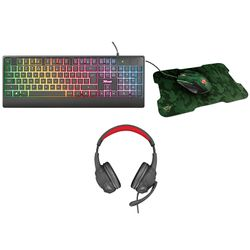Trust Ziva Rainbow LED Gaming Keyboard & GXT 307 Ravu Black Gaming Headset & GXT781 Rixa Camo Mouse & Mousepad Gaming Combo