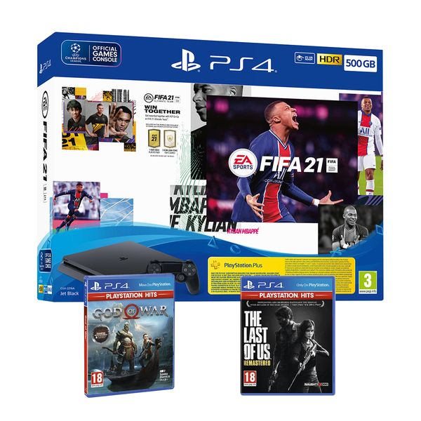 Sony  PS4 500GB & Fifa 21 & FUT Voucher & The Last of Us Remastered (PS Hits) & God of War (PS Hits)