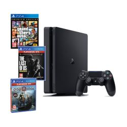Sony PS4 500GB Slim & GTA V & God of War & The Last of Us Remastered