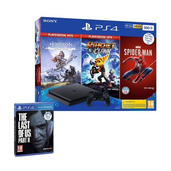 Sony  PS4 500GB & Marvel's Spider-Man & Horizon Zero Dawn & Ratchet & Clank & The Last of Us Part II