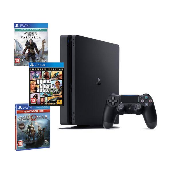 Sony  PS4 500GB Slim & Assassin's Creed Valhalla Drakkar Edition & God of War & GTA V