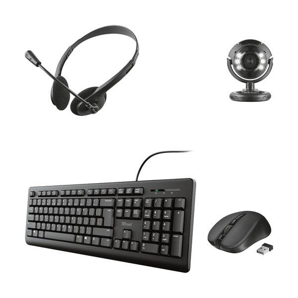 Trust Spotlight Pro Web Cam & Ziva Ακουστικά Κεφαλής & Primo Πληκτρολόγιο & Mydo Silent Click Ποντίκι