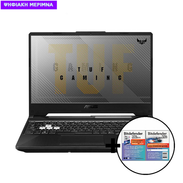 Asus  TUF Gaming F15 FX506LU-HN220T i7-10870H/16/256GB & 1TB/GTX 1660Ti Laptop & Bitdefender Total Security (1 Device, 2 Years) Card Software