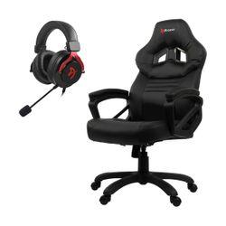 Arozzi Monza Black Gaming Καρέκλα & Aria Red Gaming Headset