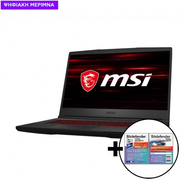 MSI GF65 Thin 10SDR i7-10750H/8GB/512GB/GTX1660Ti 6GB Laptop & Bitdefender Total Security (1 Device, 2 Years) Card Software