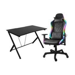 Deltaco GAM-055 Black Gaming Desk & Gam-080 RGB Black Καρέκλα Gaming