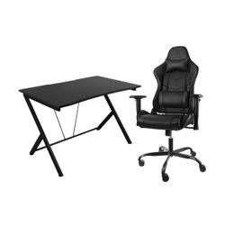 Deltaco GAM-055 Black Gaming Desk & Gam-096 Iron Frame Black Καρέκλα Gaming